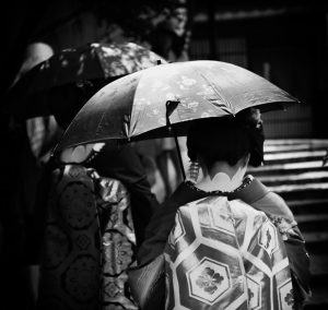 Maiko walking by, Kyoto